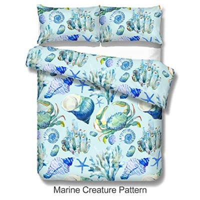 (Queen) - Kingtex Aqua Blue Ocean Creatures Duvet Cover Set 3 Pieces Marine Creature Pattern...
