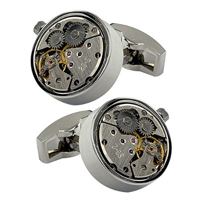 amytong Limited EditionメンズレトロDesigner Mechanical Watch Gear MovementsラウンドWhale Back Cufflinks