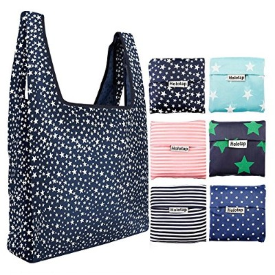 (Multicolor) - Foldable Reusable Grocery Bags 6 Pack Holotap Folding Shopping Tote Bag Fits in...