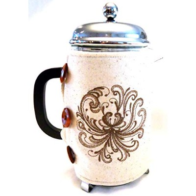 Integrity Designs Scandinavian Rosemaling Embroidered French Press Cosy with Gift Card and Envelope