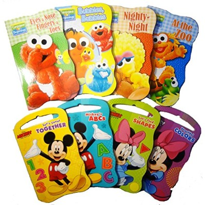 2 Set of Baby Toddler Beginnings Board Books (Sesame Street Set + Mickey Mouse and Friends Set) -...