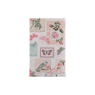 (130cm x 180cm Oblong) - Roses, Birds and Butterflies Stamps, Postcards and Letters Vinyl Flannel...