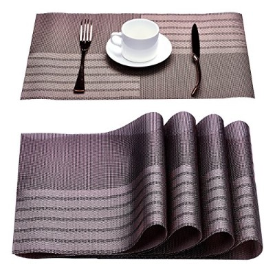 slymeay Placemats Set of 4PVC素材ノンスリップ、洗濯可能、防水、断熱、Greaseproof for Familyパーティーピクニックアウトドア活動とギフト 17.8...