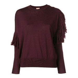 Nude ruffle detail sweater - レッド