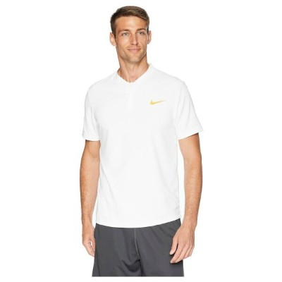 ナイキ Nike メンズ テニス トップス【Court Dry Advantage Solid Tennis Polo】White/White/Gold Leaf