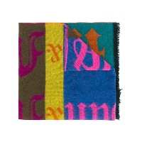 Walter Van Beirendonck patchwork style scarf - ピンク&パープル