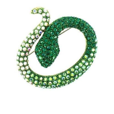 Green on Silver Plated Spectacular Snake Brooch