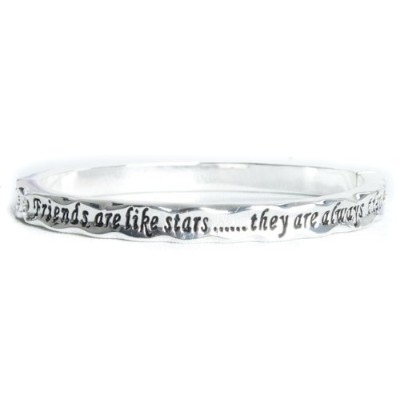 Equilibrium Silver Plated Bangle - Friends Are Like Stars They Are Always There
