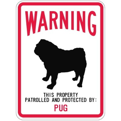 WARNING PATROLLED AND PROTECTED PUG マグネットサイン:パグ(スモール) 警告 資産 警戒 保護 英語 アメリカン カー.