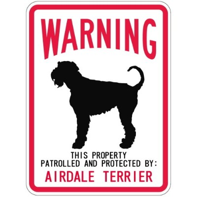 WARNING PATROLLED AND PROTECTED AIREDALE TERRIER マグネットサイン:エアデールテリア(スモール) 警告 資.