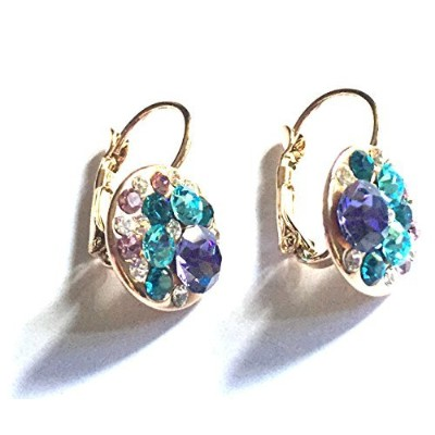 UPSERA Multi-color Round Lever-Back Earrings for Women Made with Swarovski Crystals Hypoallergenic...