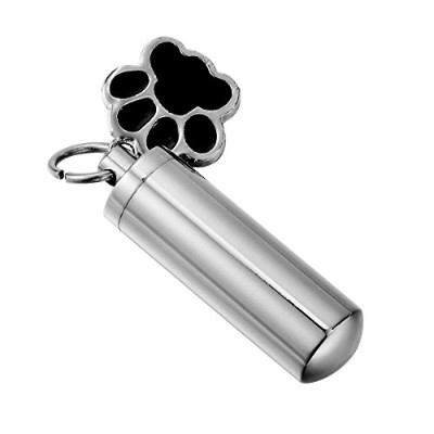 (Pet Paw) - HooAMI Pet Puppy Dog Paw Cylinder Cremation Urn Necklace / Keychain Keepsake Ashes...