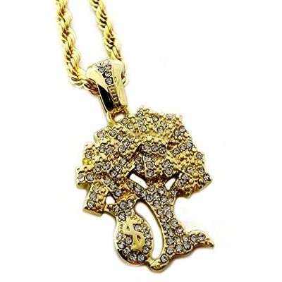 Iced Out Money & Fortuneテーマペンダントネックレス24cmロープチェーン