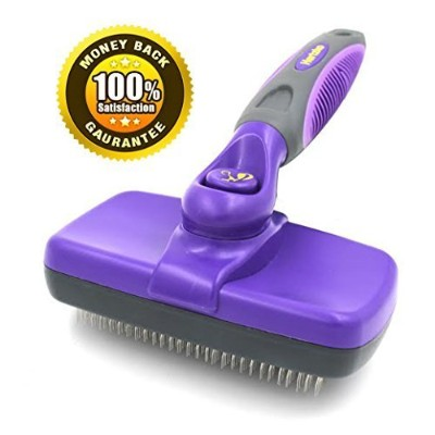 #1 Best Quality Self Cleaning Slicker Brush - Gently Removes Loose Undercoat, Mats and Tangled Hair - Your Dog or Cat Will Love Being Brushed with the Hertzko Grooming Brush - 100% Satisfaction and Money Back Guarantee ! by Hertzko