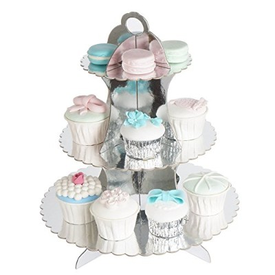 (Laciness Silver) - RiscaWin 3-Tier Round Stacked Party Cupcake and Dessert Stand Cupcake Tower...