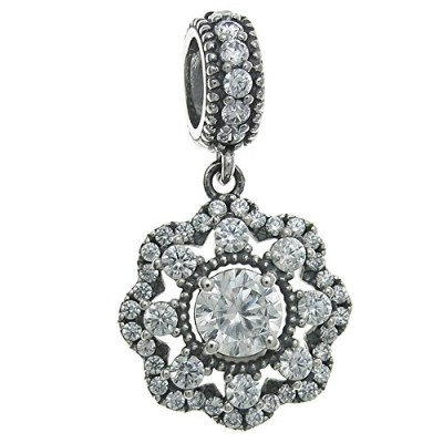 Queenberry Sterling Silver Cubic Zirconia Spring Flower European Style Dangle Bead Charm