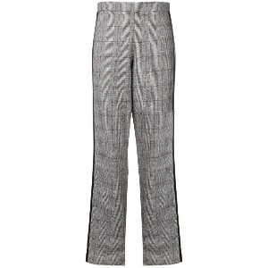Federica Tosi side stripe plaid trousers - グレー