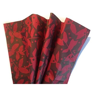 素朴なレッド&ブラウンBranches & Berries Printed Tissue Paper for Gift Wrapping、24シート
