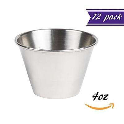 (12, 120ml) - (12 pack) Stainless Steel 120ml Portion Cups, Individual Condiment Sauce Cups - 120mls