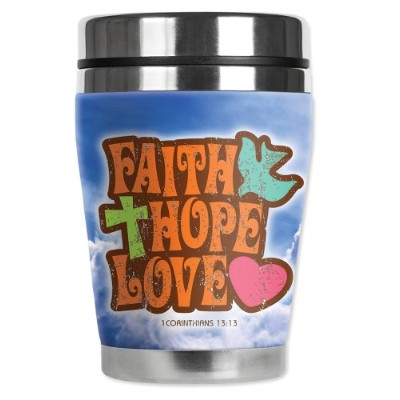 "Mugzie ®ブランド12オンス"" Mini "" Travel Mug with Insulatedウェットスーツカバー – Faith , Hope , Love"