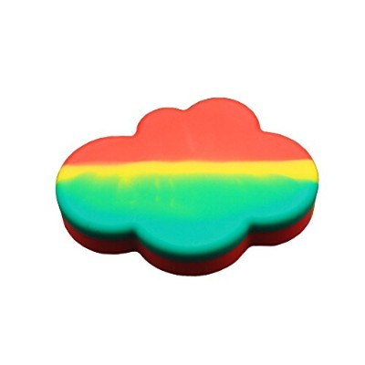 (1, Rasta) - YHSWE 85ml 1Pcs Large Cloud Shape Nonstick Storage dab Silicone Concentrate Container...
