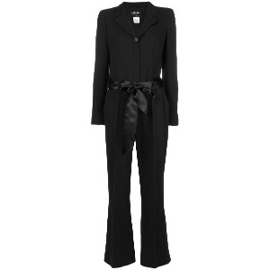 Chanel Vintage 2003's front bow jumpsuit - ブラック