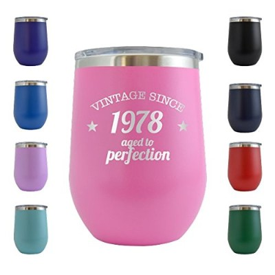 1978 40th Birthday Gifts for Women and Men 350ml Wine Glass Tumbler Cup- Funny Vintage Golden...