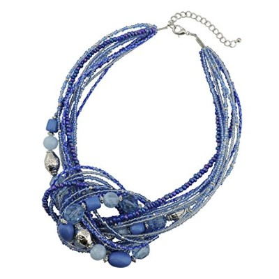 (Royalblue) - BOCAR Aquamarine Seed Beads Antique Gold Multilayer Statement Collar Necklace