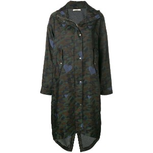 Odeeh camouflage print parka coat - グリーン