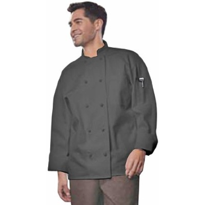 Uncommon Threads 0427-0107 Classic Knot With Mesh Chef Coat in Black - 3XLarge