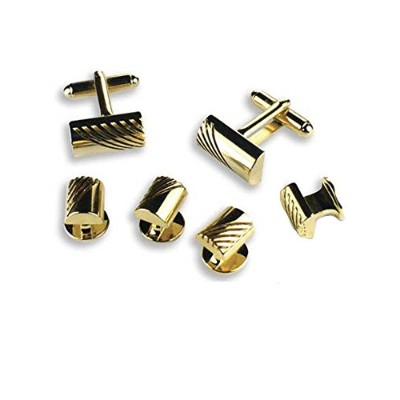 ゴールドBarrel Shaped Cufflinks and Studs