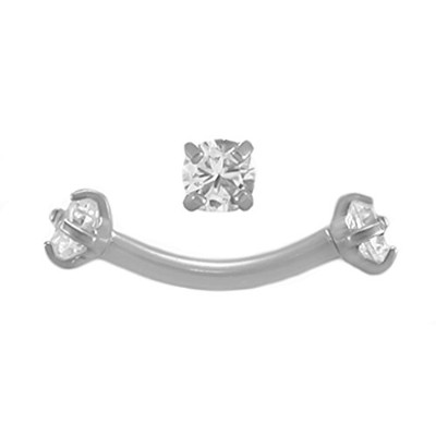 bodysparkleボディジュエリークリアJeweled 16g5/16曲線ピアスbarbell-steel内部的threaded-eyebrow ring-cartilageイヤリング