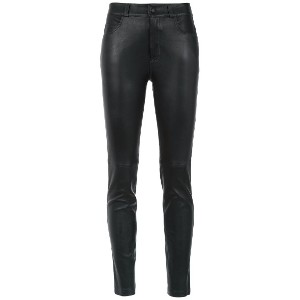 Martha Medeiros leather skinny trousers - ブラック