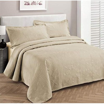 (Full/Queen, Beige) - Fancy Collection 3pc Luxury Bedspread Coverlet Embossed Bed Cover Solid Beige...