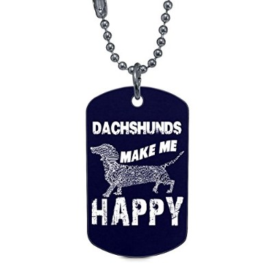 colostore Dachshunds make me happy dogタグ、I Love Dachshundネックレス