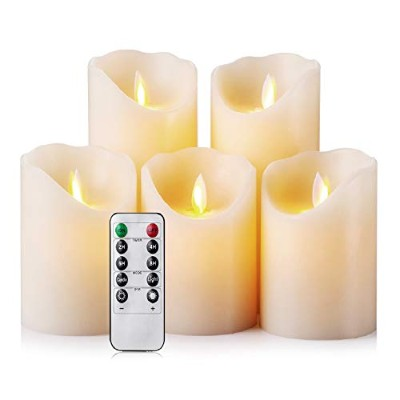 Flameless Candles LED Candles Realistic Moving Set of 5 Ivory Battery Candles Real Wax Pillar with...