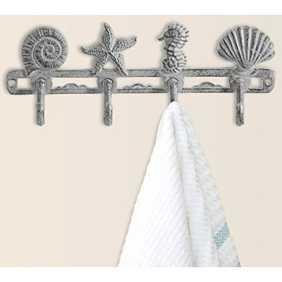 (Antique White) - Vintage Seashell Coat Hook Hanger by Comfify Rustic Cast Iron Wall Hanger w/ 4...