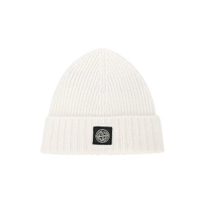 Stone Island Junior ribbed beanie - ホワイト