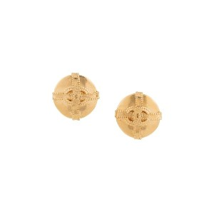 Chanel Vintage Chanel CC logos button earrings - メタリック