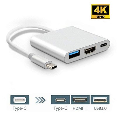 Anskp USB-C & HDMI変換アダプタ USB3.0高速転送 充電ポート 3in1 高解像度 4K 30Hz TYPE-C コネクタ Huawei Mate Book X/Mate...