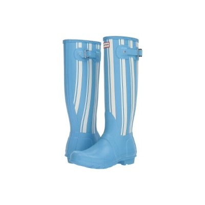 ハンター Hunter レディース シューズ・靴 レインシューズ・長靴【Original Garden Stripe Tall Rain Boots】Forget Me Not/White