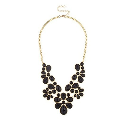 Lux Accessories Black Faceted Cavier Teardrop Stone Bib Statement Necklace
