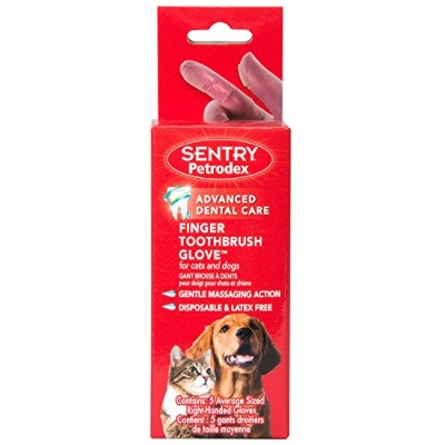 Petrodex Sentry 5 Count Finger Brush Glove for Dogs and Cats by Petrodex