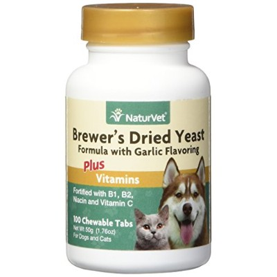 NaturVet Brewer Dried Yeast Formula Garlic Vitamins Tablets for Dogs Cat 100ct