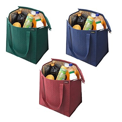 Sanne Reusable Grocery Shoppingボックスバッグ(3パック – シェブロン)。スタイリッシュな、プレミアム品質、頑丈トートバッグSet with Extra...