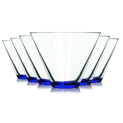 LibbeyコバルトブルーStemless Martini Glasses with coloredアクセント–13.5オンスセットの6-追加の鮮やかな色使用可能by Tabletop King