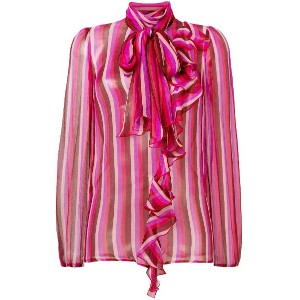 Blumarine striped pussy bow blouse - ピンク