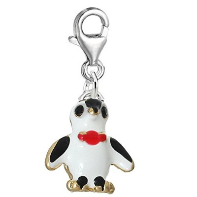 Sexy Sparkles Penguin withレッドボウクリップペンダントチャームのブレスレットorネックレス