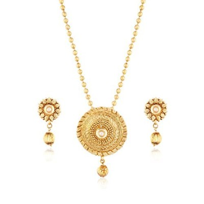 I Jewels Gold Plated Traditionalペンダントセットwith Designerチェーンの女性ms102fl