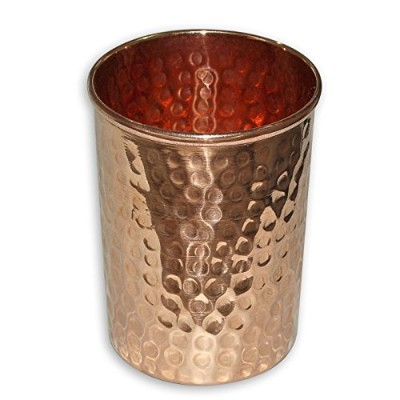 インドの銅タンブラーHammered Glasses for Healing Ayurvedic by JMD International ゴールド